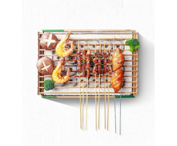 TRUERIEY DISPOSABLE BBQ PIT WITH NON-FIRE CHARCOAL | 一次性烤架 | CN