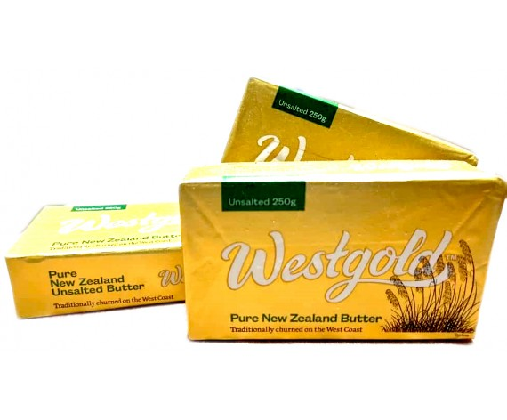 WESTGOLD PURE NEW ZEALAND BUTTER | UNSALTED | 250GM/PKT | 无盐黄油 | NZ