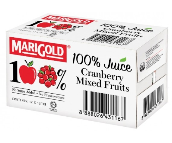 MARIGOLD 100% CRANBERRY MIXED FRUITS JUICE | 12X1L/CTN | 万寿菊100%蔓越莓混合果汁 | MY