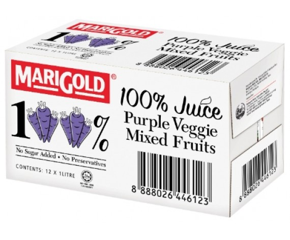 MARIGOLD 100% PURPLE VEGGIE MIXED FRUITS JUICE | 12X1L/CTN | 万寿菊100%紫色蔬菜混合果汁 | MY