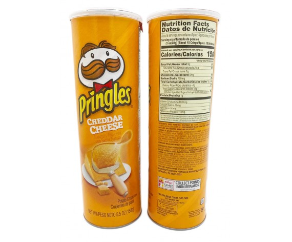 PRINGLES POTATO CRISPS | CHEDDAR CHEESE | 158GM/TUB | 品客起司奶酪味薯片 | US