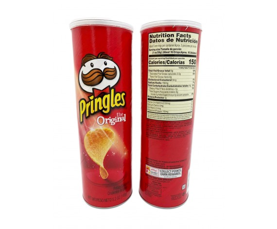 PRINGLES POTATO CRISPS | ORIGINAL | 149GM/TUB | 品客原味薯片 | US