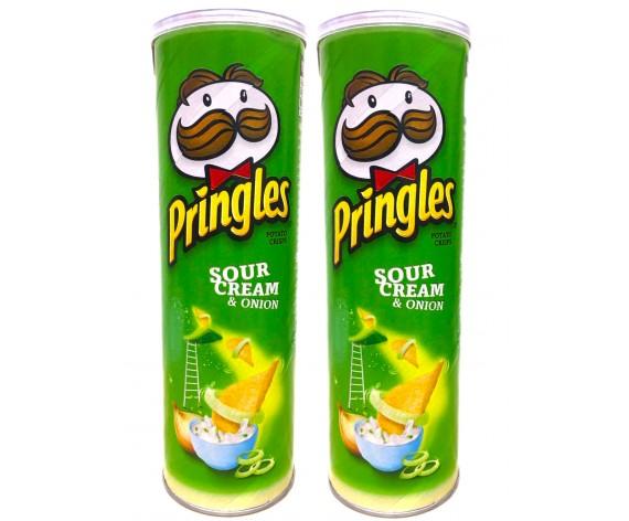 PRINGLES POTATO CRISPS | SOUR CREAM & ONION | 110GM/TUB (DOUBLE) | 品客酸奶油洋葱味薯片 | MY