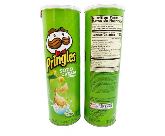 PRINGLES POTATO CRISPS | SOUR CREAM & ONION | 158GM/TUB | 品客酸奶油洋葱味薯片 | US