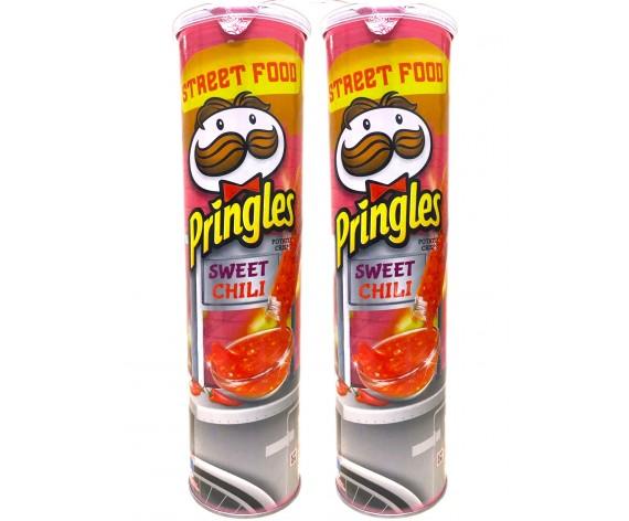 PRINGLES POTATO CRISPS | SWEET CHILI | 147GM/TUB (DOUBLE) | 品客甜辣味薯片 | MY