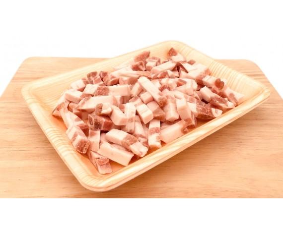 FROZEN PORK BELLY STRIPS | SKINLESS | 1X1CM | 1KG/PKT | 去皮三层肉切条状(台式卤肉饭专用) | NL