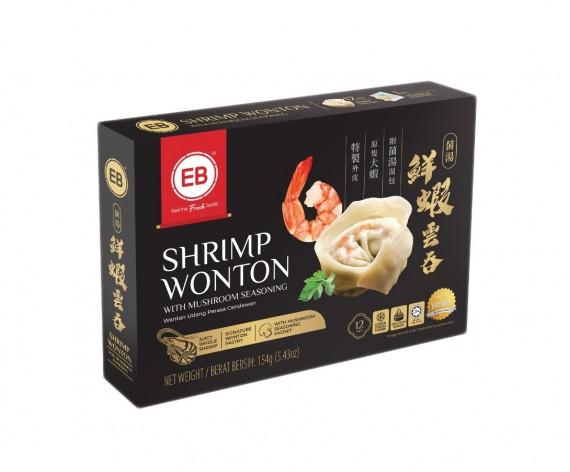 EB SHRIMP WANTON WITH MUSHROOM SEASONING | 12PCS | 154GM/PKT | 更加好鲜虾云吞 | MY
