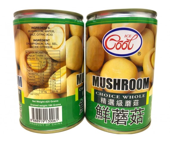 ICE COOL CHOICE WHOLE MUSHROOM | 425GM/TIN | 罐装精选级蘑菇 | CN