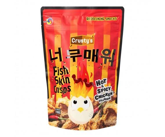 HOT & SPICY CHICKEN FLAVOUR CRISPY FISH SKIN | CRUSTY | 100GM | 香辣鸡味鱼皮 | SG